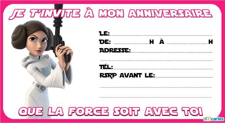 Princesse leia invitation star wars pinterest star - Carte invitation anniversaire star wars ...