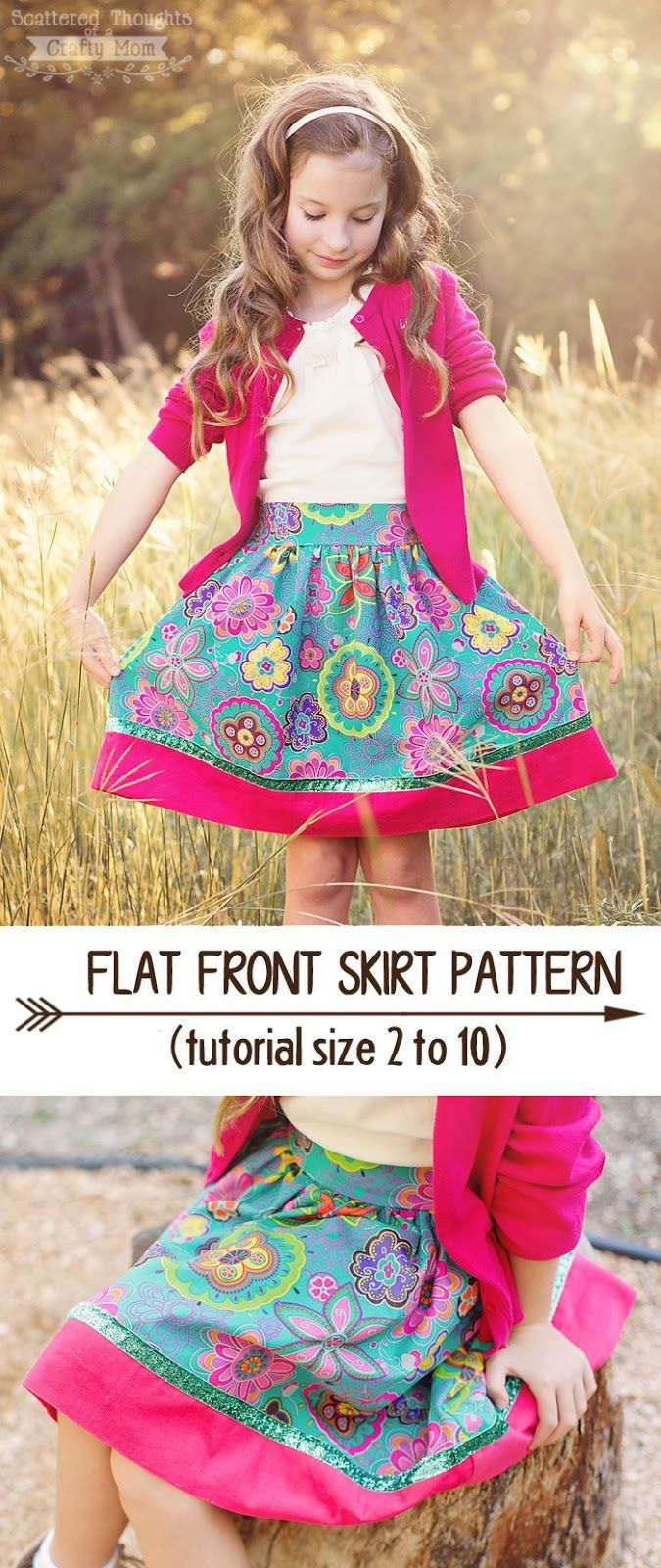 Free Flat Front skirt patterns for girls. Size 2 to 10. #sewing