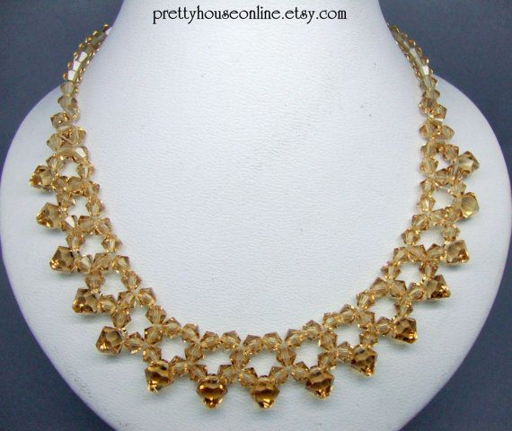 FREE SHIPPING EVERYWHERE  Tangerine Bicone Crystal Necklace by PrettyHouseOnline