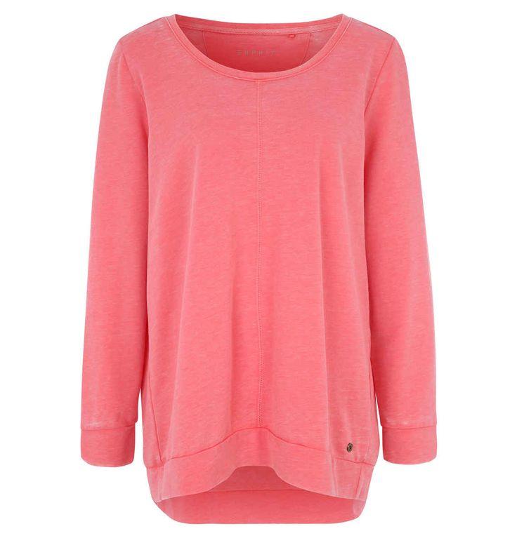 ESPRIT Sweatshirt, meliert, Rundhalsausschnitt, für Damen coralle