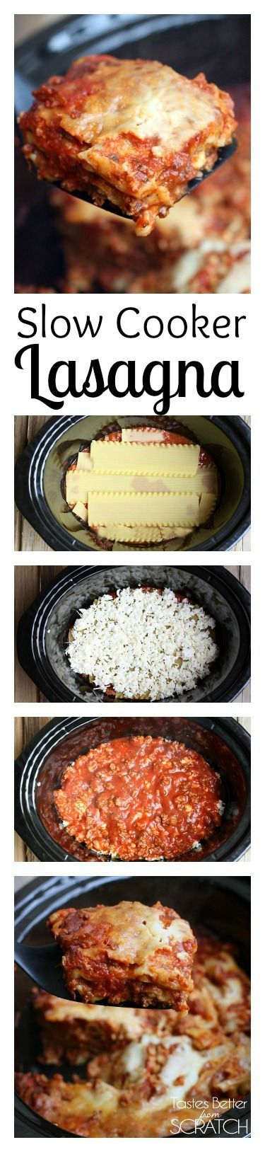 Slow Cooker Lasagna is so easy and yummy! You don't even have to cook the noodles! Recipe on TastesBetterFromScratch.com