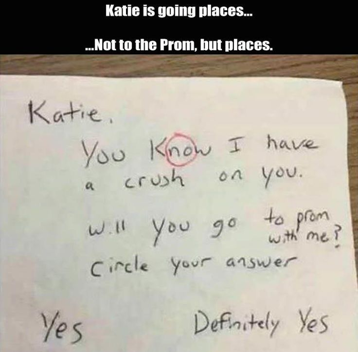 Katie is going places, not to prom but places... Circle your answer no