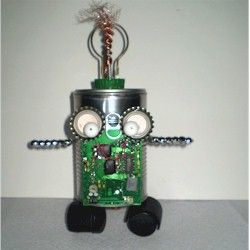 This quirky little robot was made from odds and ends of parts found around the house