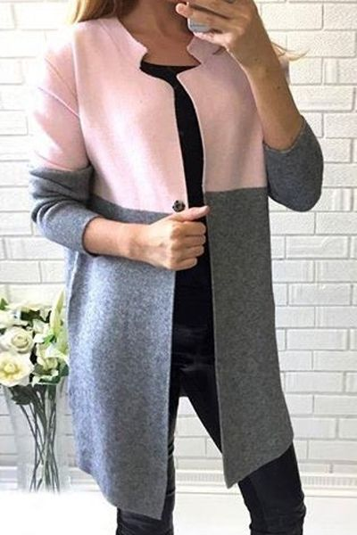 Notched Long Sleeve Color Block Coat