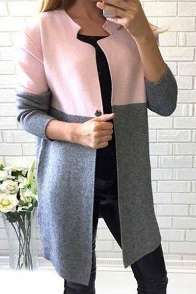 Notched Long Sleeve Color Block Coat