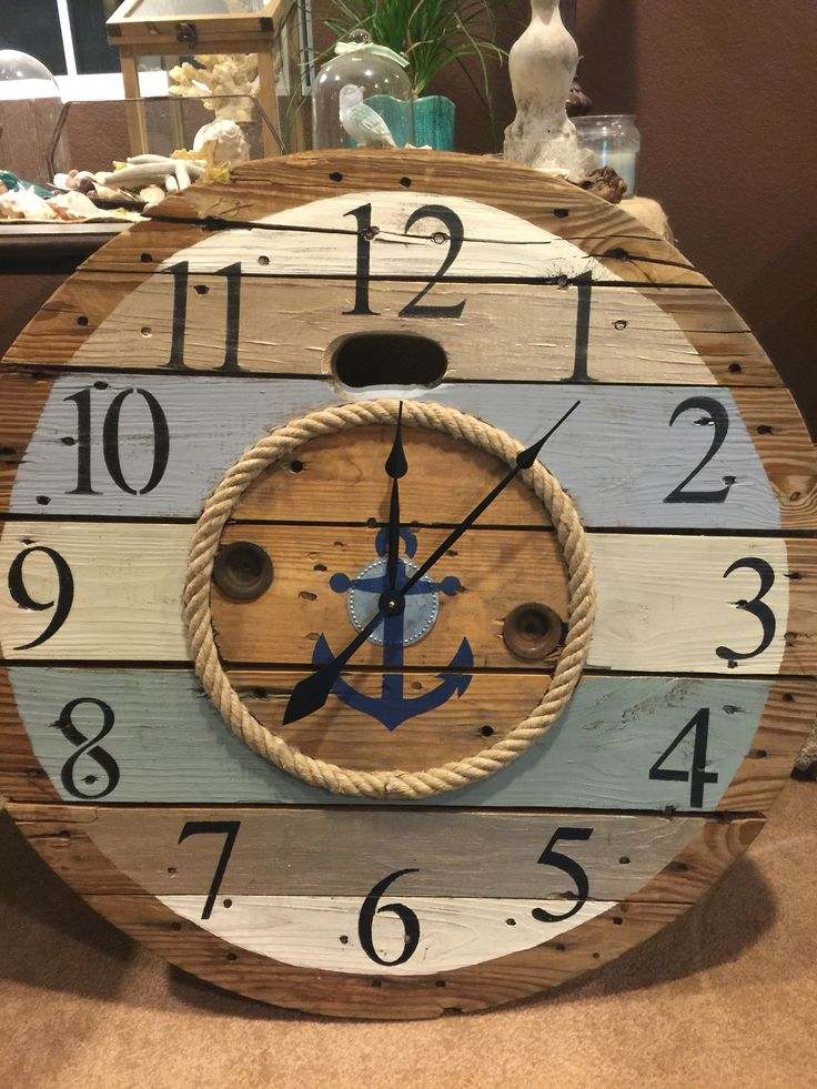 "Custom spool clocks for sale. Visit Urbanchic designs on Facebook. Or message me here. This one is 30"" for 149.00 plus shipping"