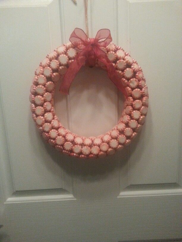 Mint candy Christmas wreath