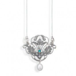 "18"" oxidized sterling silver necklace and ornate Victorian style pendant"