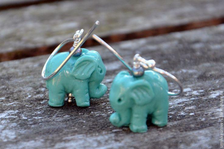 Купить Серебряные серьги Индийский слон - нежное украшение, серебряные серьги, морская волна, пастель