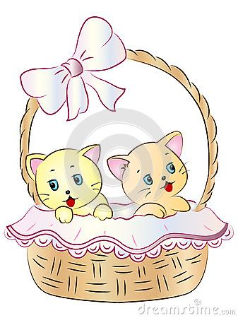 Vector Illustration of cute Kittens in a Basket.
