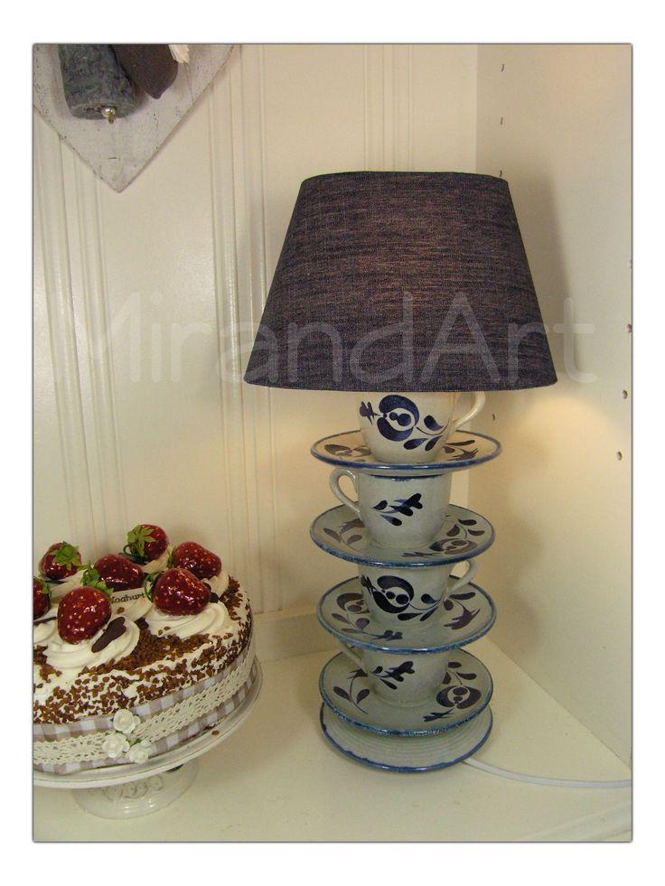 Servies lamp  Servies lamp met oud Fransen kop en schotel