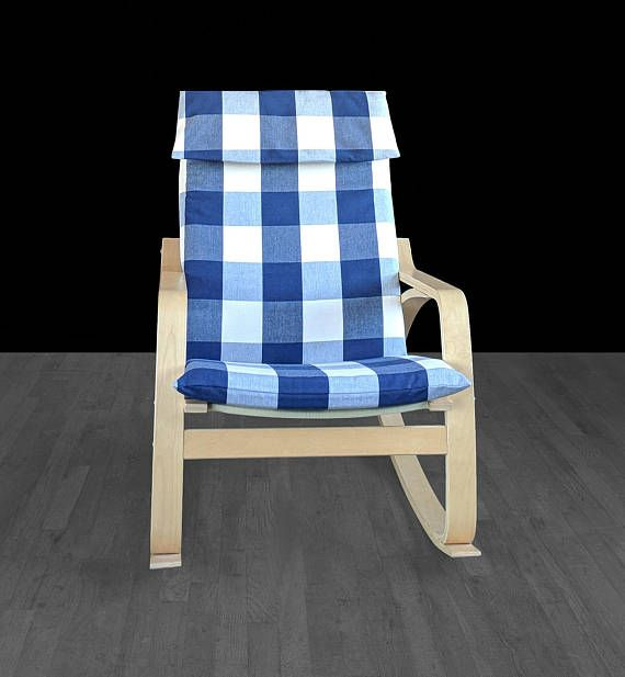 Buffalo Check Navy Blue Ikea Poang Chair Cover Plaid Ikea Chair