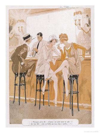 Two Flappers Gossip at a BarBy Paul Fournier