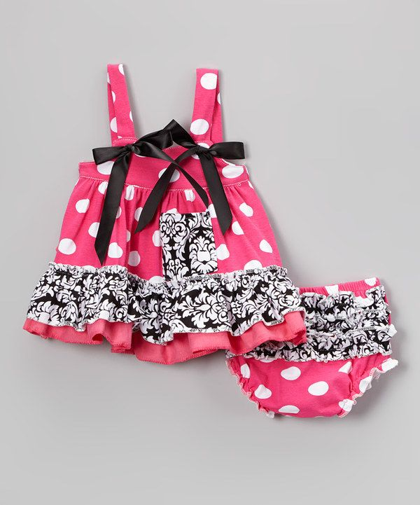 Look at this Pink & Black Damask Swing Top & Diaper Cover - Infant on #zulily today!