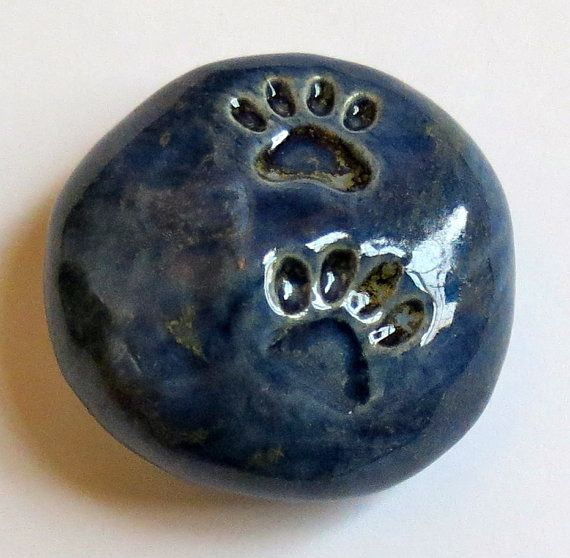 PAW PRINTS Pocket Stone  Ceramic  Antique Blue by InnerArtPeace, $5.00