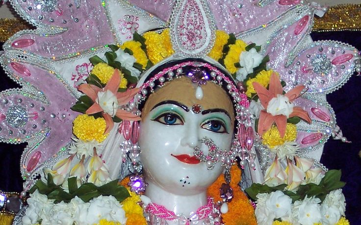 To view Sri Radha wallpapers of ISKCON Allahabad in difference sizes visit - http://harekrishnawallpapers.com/sri-radha-close-up-iskcon-allahabad-wallpaper-005/