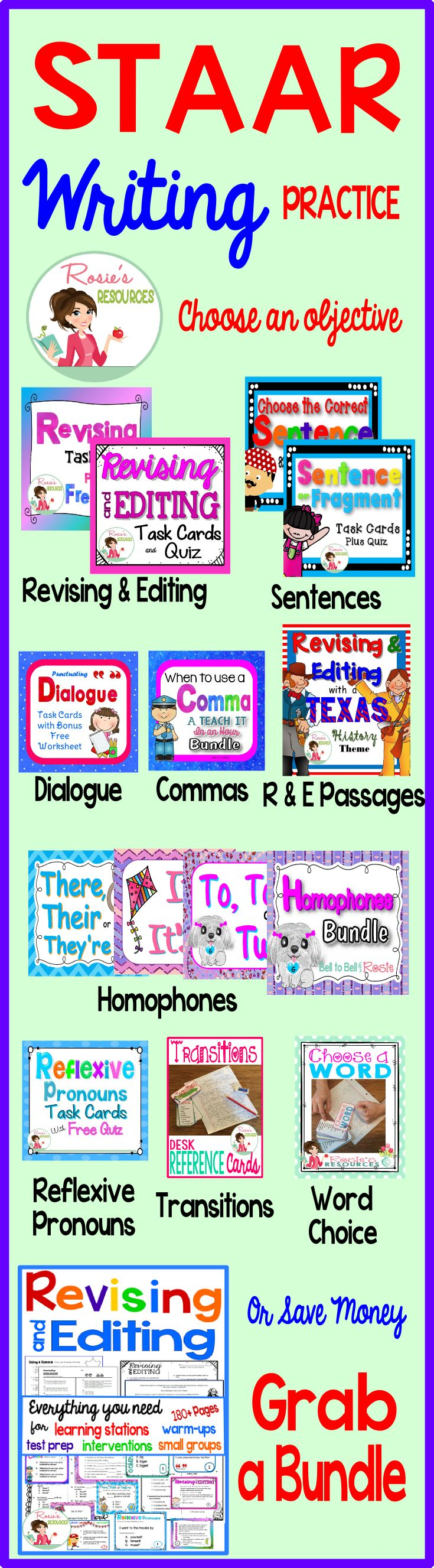 Need practice for the STAAR writing test? Each resource targets a specific revising and editing skill. Need more passages? Try our Texas History or Holiday revising and editing passages. Grab a bundle to save time and money!