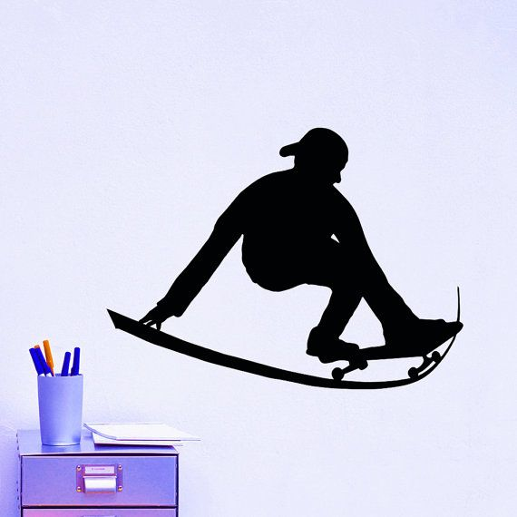 Vinyl Wall Decals Skateboard Skateboarding Skater Sports Decal Sticker Home Decor Art Mural ★★★Welcome to our shop!★★★  ★ SIZE AND COLOR ★ Approximate Item Sizes: 22 Tall x 19 Wide 28 Tall x 24 Wide 38 Tall x 32 Wide  ✓✓✓If this size is inappropriate for you, you can contact us and provide your dimensions and we can create for you decal of any size. ✓✓✓Please note that any changes of the decal dimensions will result in the price change.Just contact us at first.  ✓✓✓Please choose 1 color you…