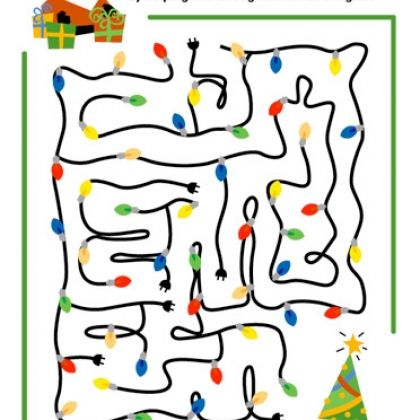 Santa's Christmas Lights Maze (Printable Games for Kids)