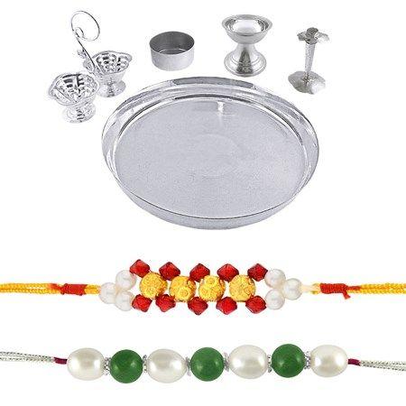 Jpearls Raksha Bandhan Special Sliver Thali Hamper | Silver Plated Puja Thali | 2 piece Pearl Rakhis  #silverplate #puresilver #silveraccessories #gifthamper #rakshabandhan #rakhigifts