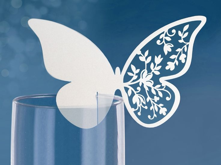 Placeringskort till glas - fjäril