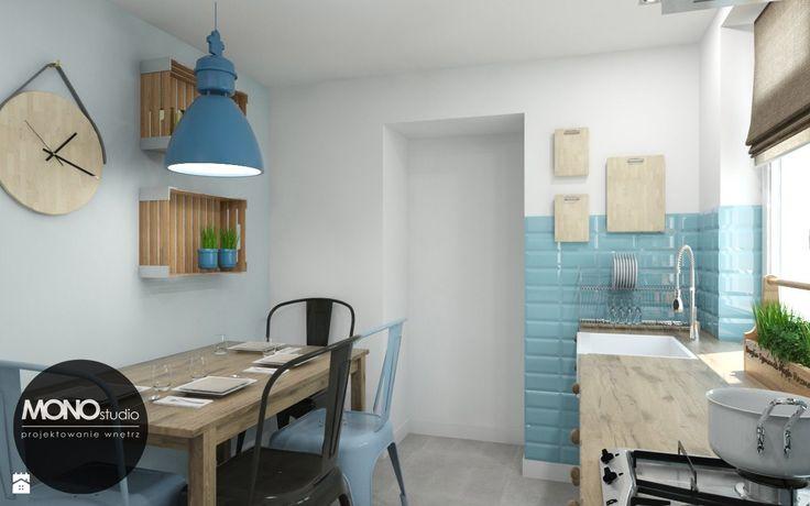 Aranżacja biało-błękitnej kuchni