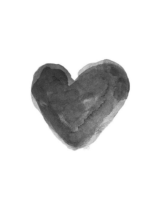 Black and White Watercolor Heart Art Charcoal Grey Art Print Black Valentine on Etsy, $18.00