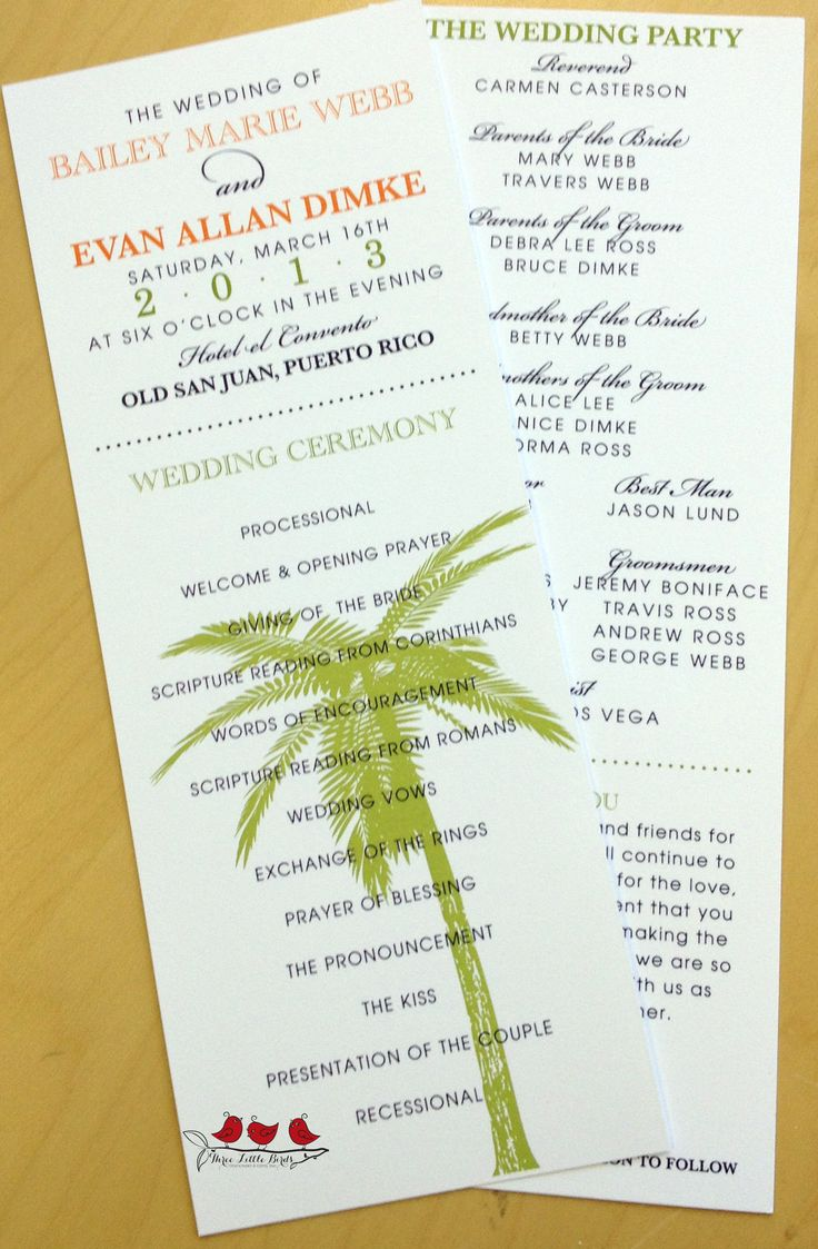 Ceremony Programs With Typography Mixed Fonts And Palm Trees By Three Little Birds