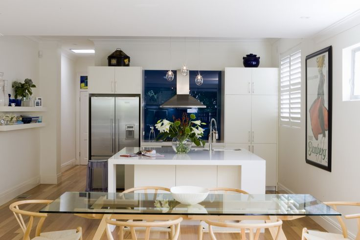 Open Kitchen dining with large square Caesarstone island. Brooke Aitken Design.