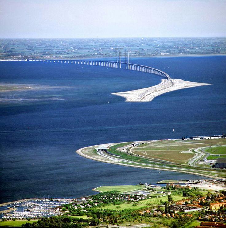 Impressive bridge from Copenhagen to Malmo, Sweden. ---> Øresund Bridge (Danish: Øresundsbroen, Swedish: Öresundsbron, joint hybrid name: Øresundsbron)