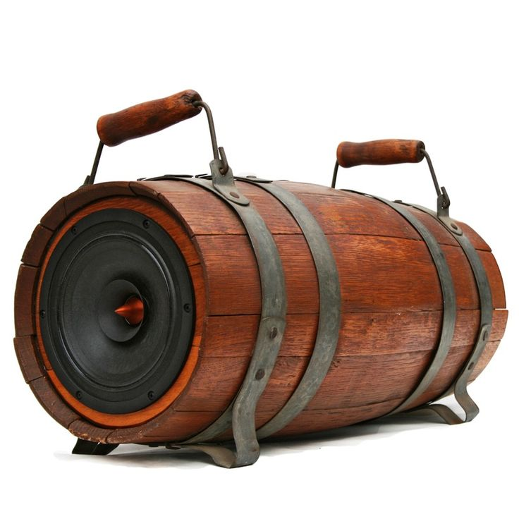 Century Dual Handle Whiskey Barrel featuring a Single Full Range Woofer.  Full Balanced Sound in a simple and clean design.