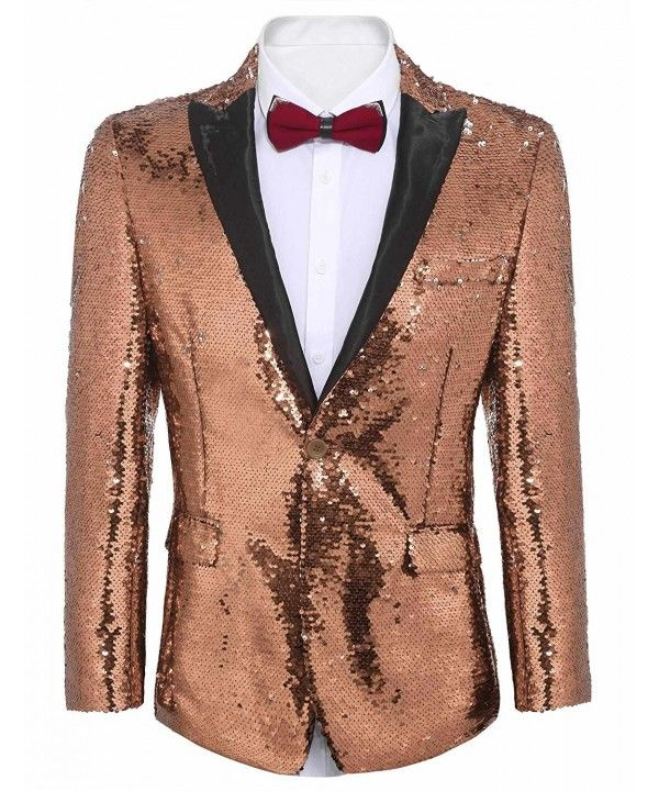 Mens Shiny Sequins Suit Jacket Blazer Lapel One Button Formal Tuxedo for Wedding Party Banquet Prom