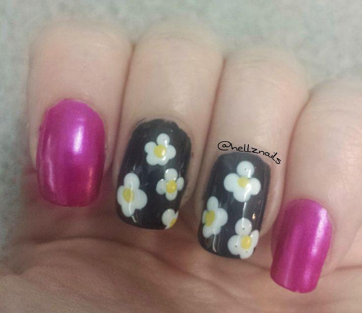 daisy nail art floral nail art  Dotting tool nail art