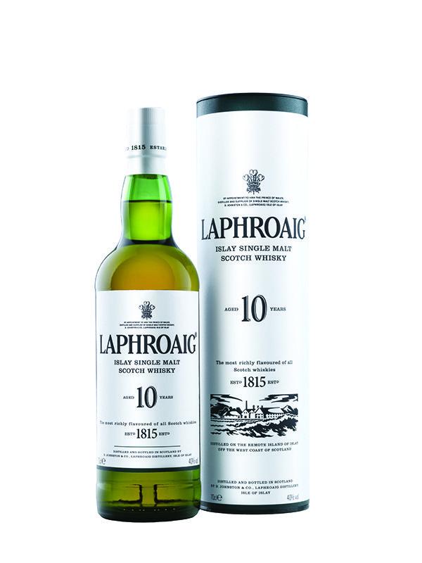 Laphroaig 10 Year Old single malt whisky.