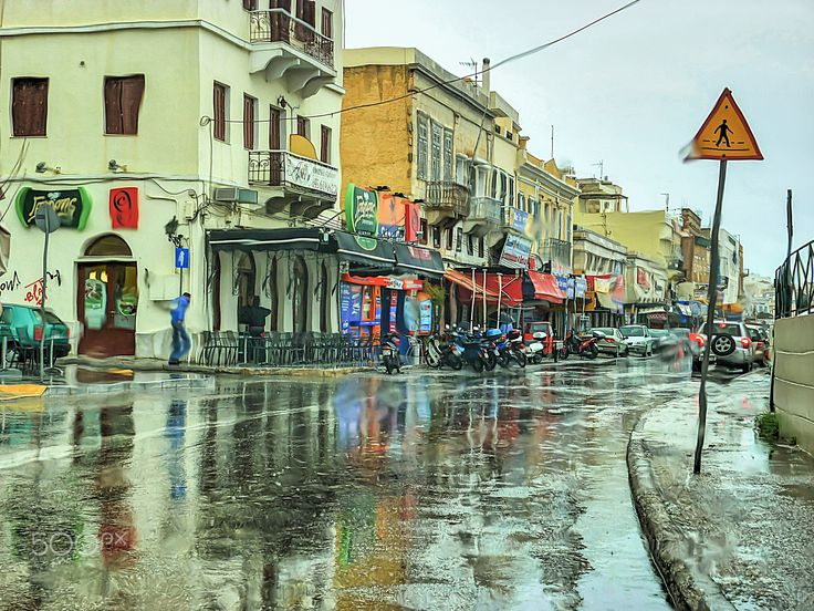 Urban Rain - This shot was taken inside the car on a rainy day in Hermoupolis  the capital of the Island Syros in Greece.
