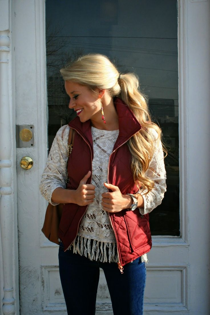 I love vests but only have black & brown.... Cute unique top too.