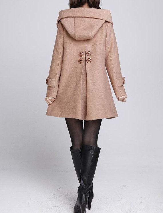 Camel cloak wool coat Hooded Cape women Winter wool coat by MaLieb, $139.00