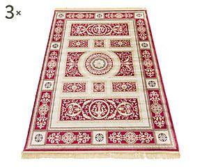 Parure di 3 tappeti in viscosa Imperial rosso - max 80x150 cm