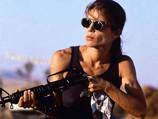 Terminator 2: Judgment Day, Linda Hamilton.  Good to have on your side in a fight