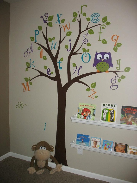 Alphabet owl tree. Book shelves from Ikea.