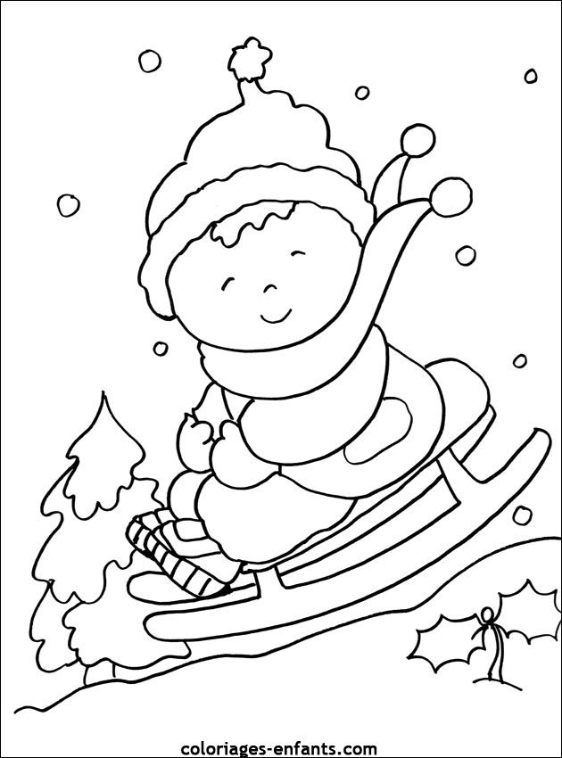 Coloring Pages For Preschoolers Winter : Preschool winter colouring page kleurplaat slee