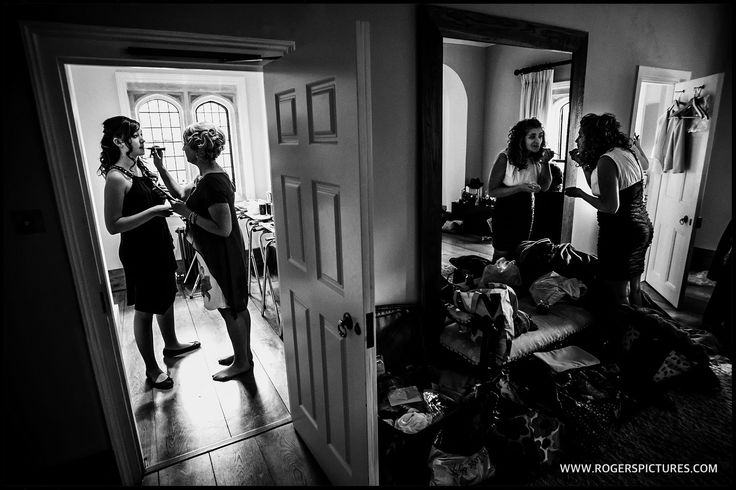 Always love the busyness of the bridal prep room before a wedding - http://www.rogerspictures.com/notley-abbey-wedding-photography