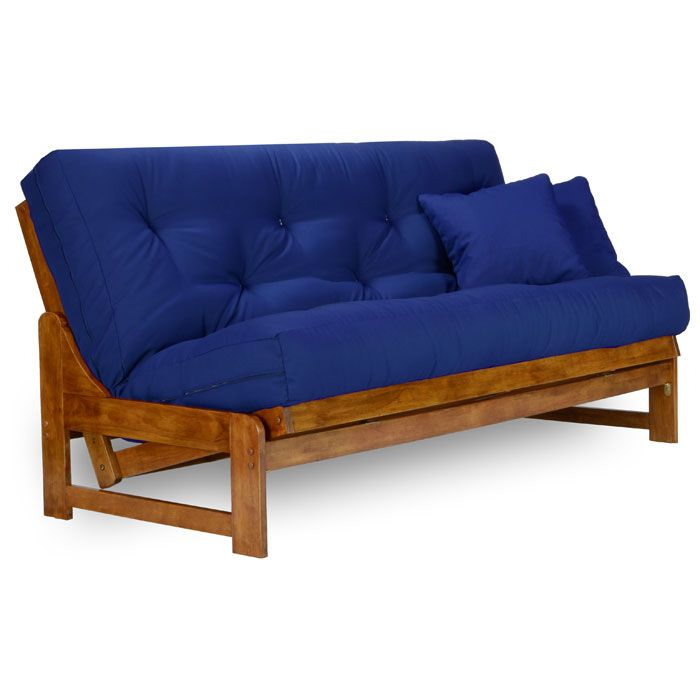 Small Sectional Sofa Wood Futon Frame Sets With Blue Cushions