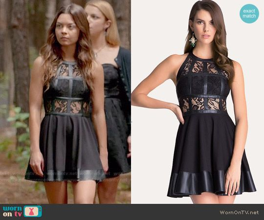 Nora's black lace and leather dress on The Vampire Diaries.  Outfit Details: http://wornontv.net/52853/ #TheVampireDiaries