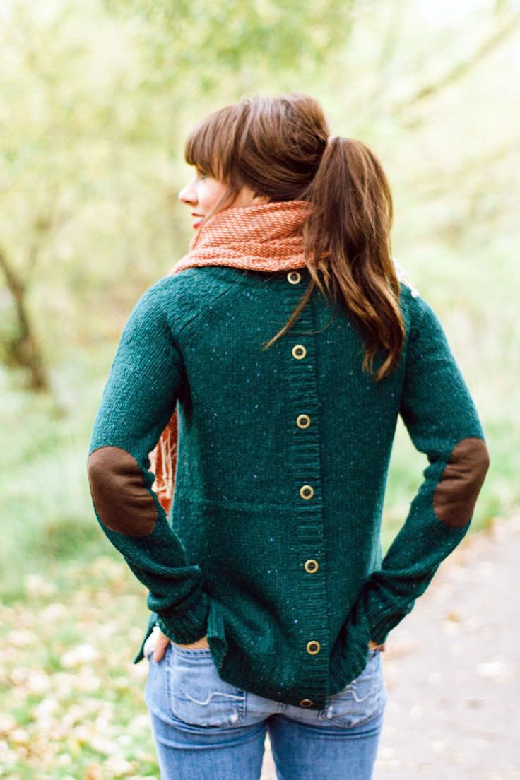 Back button green sweater with elbow patch - idea