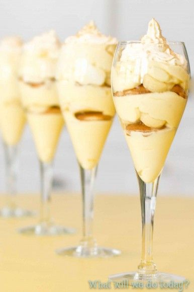 Decadent Banana Pudding and it's easy.  Uses sweetened condensed milk, boxed pudding mix, whipped cream...