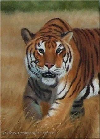 Dit is een gedetailleerd schilderij. De achtergrond is niet gedetailleerd, maar vooral de tijger wel. Je ziet bijna alle haartjes en hij is goed uitgewerkt met allerlei details.