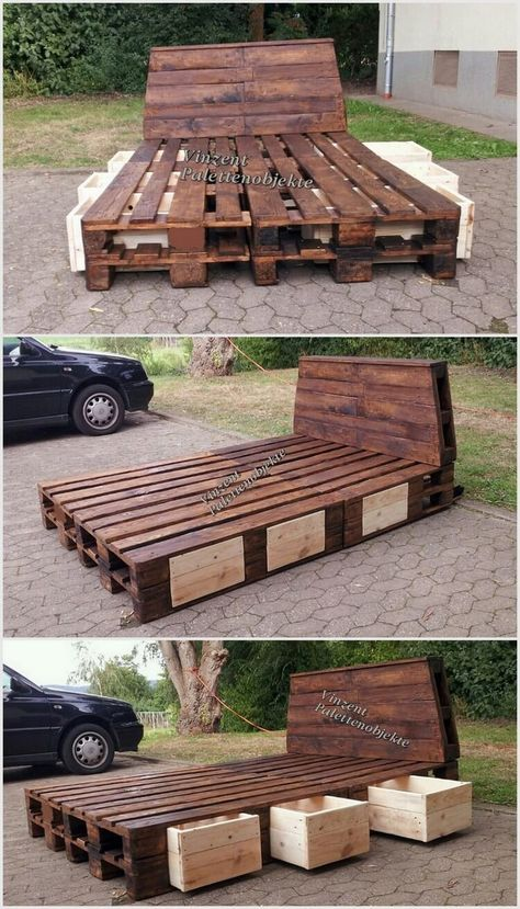 Wood Pallet Bed with Storage Drawers