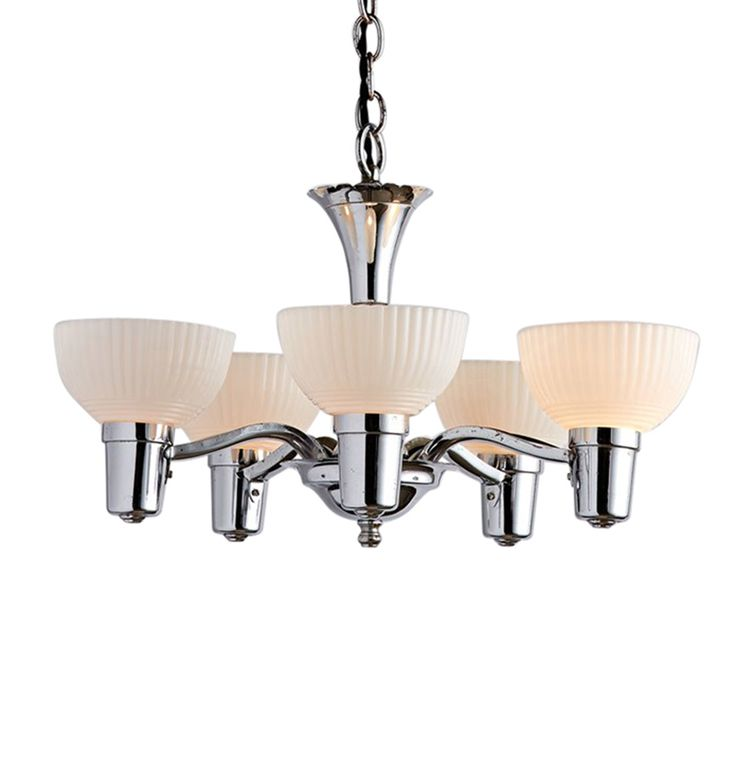 Polished Chrome 5-Light Transitional Cup Chandelier Circa 1930s R7450
