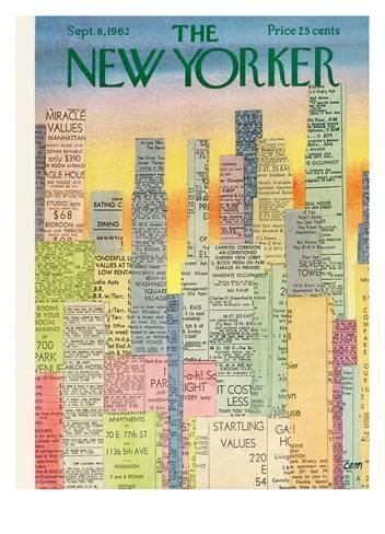 The New Yorker Cover - September 8, 1962 Reproduction procédé giclée